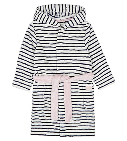 JOULES Embroidered cat paw print striped dressing gown 4-12 years (French+navy+stripe