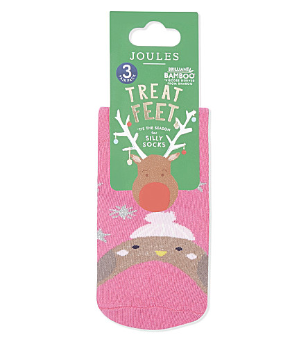 JOULES Pack of three Treat Feet socks (Xmas