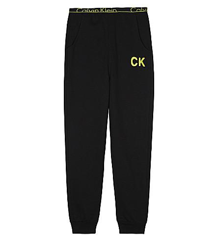 CALVIN KLEIN Neon logo cotton-blend track pants 4-16 years (Blk