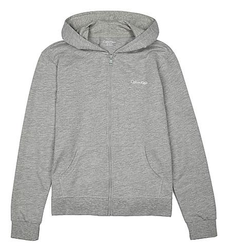 CALVIN KLEIN Logo-detail jersey hoody 4-16 years (Grey