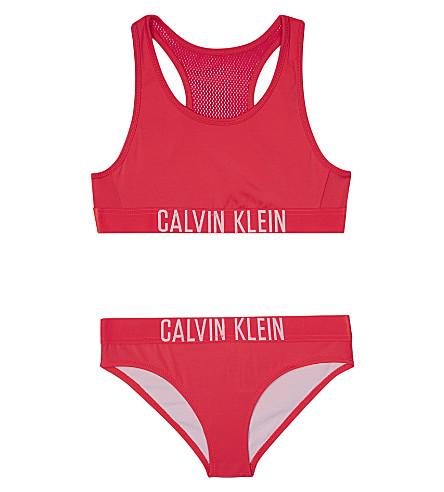CALVIN KLEIN Logo-print bikini 4-16 years (Hot+pink