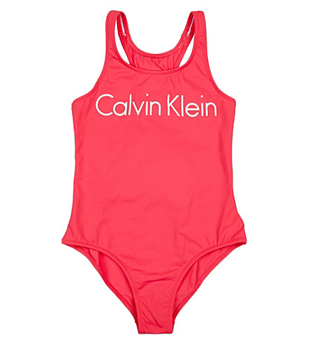 CALVIN KLEIN Logo-print swimming costume 8-10 years (Pink
