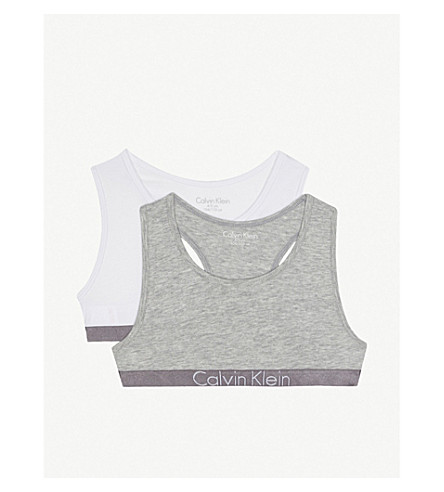 CALVIN KLEIN Logo cotton-blend bralette set of two (33+grey/white