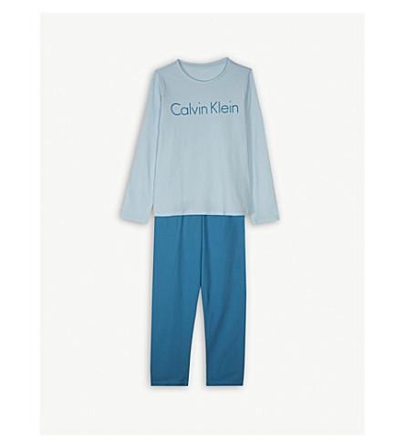 CALVIN KLEIN Logo print pyjamas 4-16 years (Blue