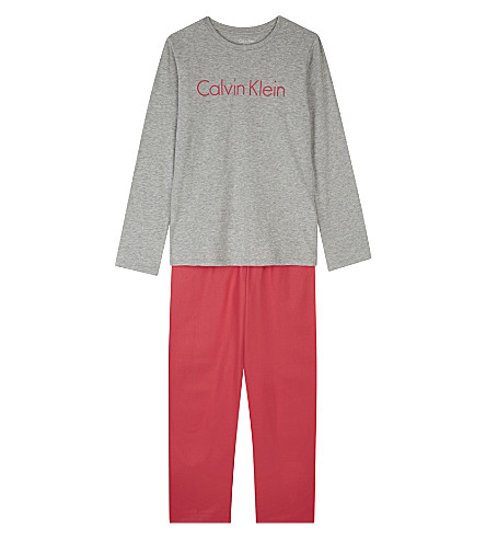 CALVIN KLEIN Logo print cotton pyjamas 4-16 years (Grey/pink