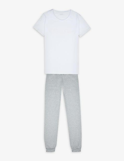 CALVIN KLEIN Logo-print cotton-stretch pyjama set 4-16 years