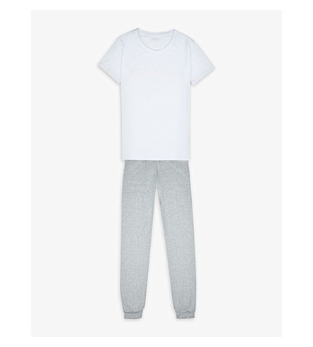 CALVIN KLEIN Logo-print cotton-stretch pyjama set 4-16 years (926 grey