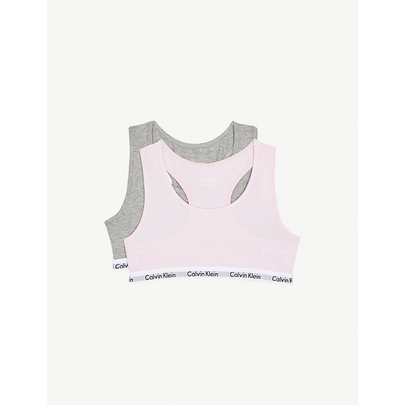CALVIN KLEIN   Calvin Klein Modern Cotton Bralettes Pack Of Two 4-16 Years, Size: 8-10 Years, Grey Htr/Unique   Goxip