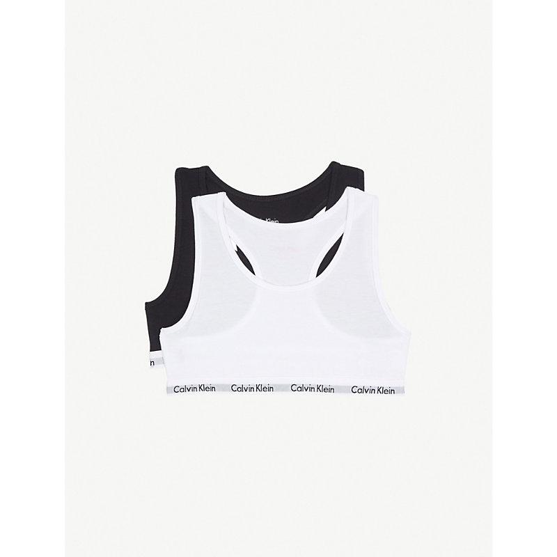 CALVIN KLEIN   Calvin Klein Modern Cotton Bralettes Pack Of Two 4-16 Years, Size: 14-16 Years, White/Black   Goxip