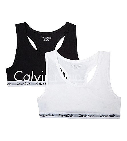 CALVIN KLEIN Modern Cotton bralettes pack of two 4-16 years (Black/white