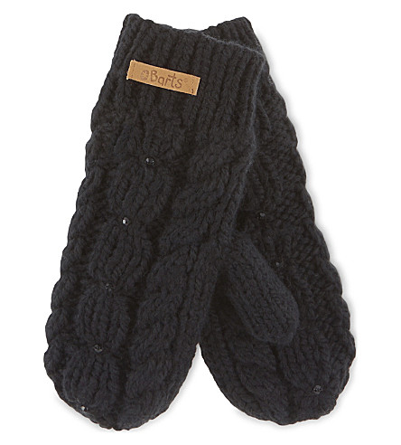 BARTS BV Embellished cable knit mittens 3-4 years (Black