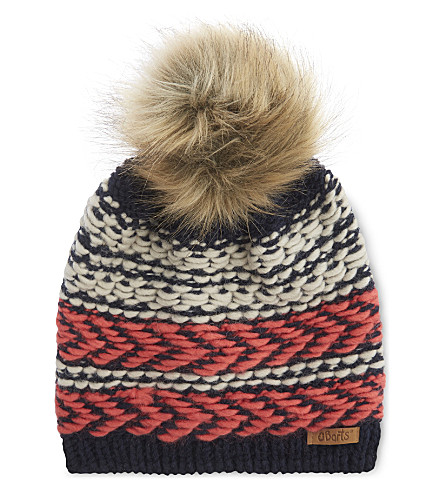 BARTS BV Medea stripe knitted beanie (Navy