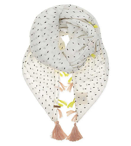 BARTS BV Tassel cotton scarf (White/black