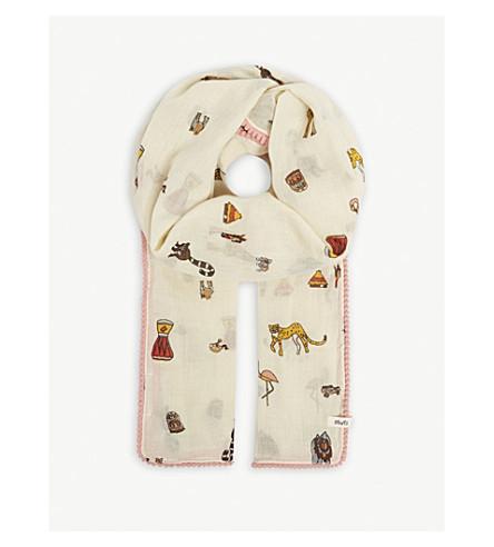 BARTS BV Jaunt animal print cotton scarf (Cream