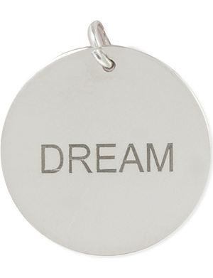 ANNA LOU Silver disk charm 'DREAM'