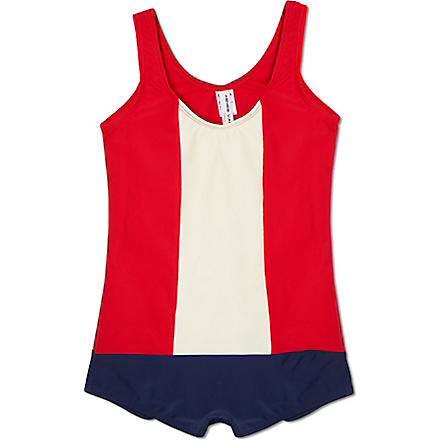AGNES VALENTINE Colour block swimsuit 4-14 years (Red+/+cream+/+navy