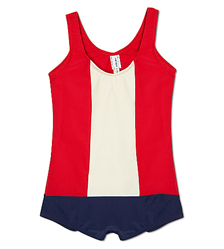 AGNES VALENTINE Colour block swimsuit 4-14 years (Red / cream / navy