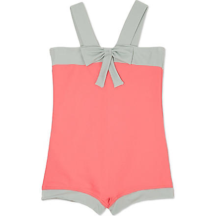 AGNES VALENTINE Bow detail swimsuit 4-14 years (Camelia / silver