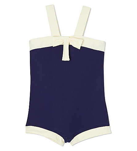 AGNES VALENTINE Bow detail swimsuit 4-14 years (Navy / cream