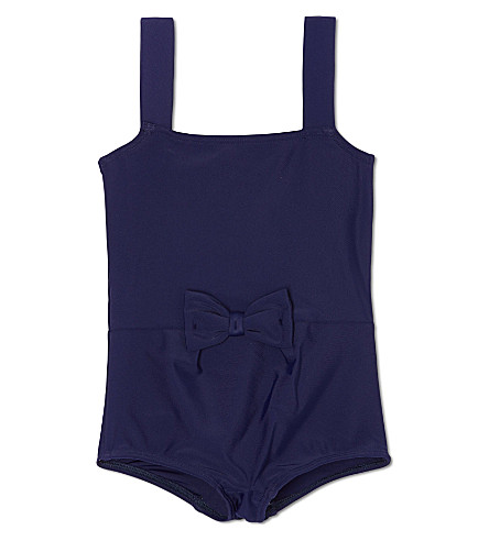 AGNES VALENTINE Classic bow-front swimsuit 4-14 years (Navy