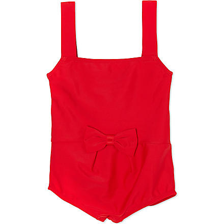 AGNES VALENTINE Classic bow-front swimsuit 4-14 years (Red