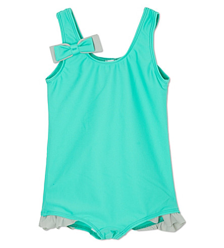 AGNES VALENTINE Ruffled leg swimsuit 4-14 years (Turquoise / silver