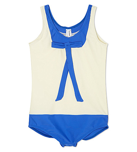 AGNES VALENTINE Bow neck swimsuit 4-14 years (Cream / cobalt