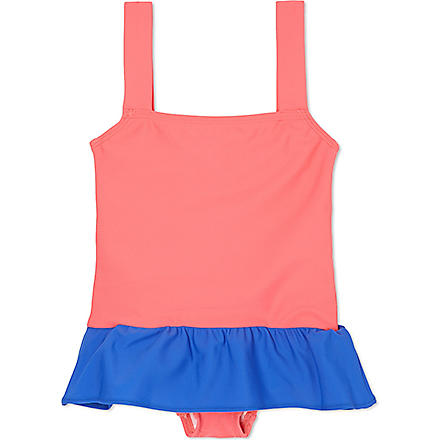 AGNES VALENTINE Skirt detail swimsuit 4-14 years (Camelia+/+cobalt