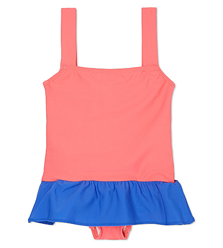 AGNES VALENTINE Skirt detail swimsuit 4-14 years (Camelia / cobalt