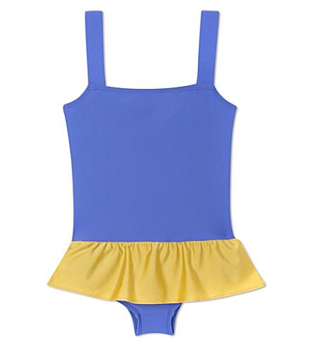 AGNES VALENTINE Skirt detail swimsuit 4-14 years (Cobalt / gold