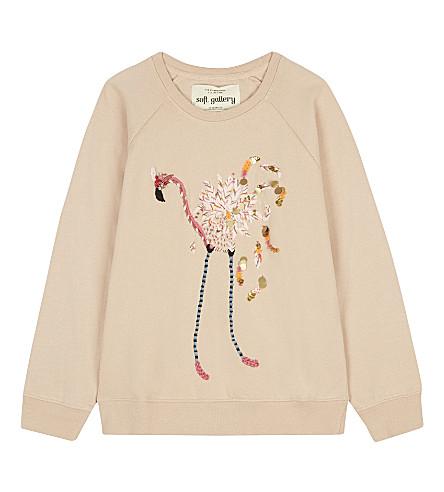 SOFT GALLERY Embroidered flamingo sweatshirt 4-12 years (Flamingo+embroidery