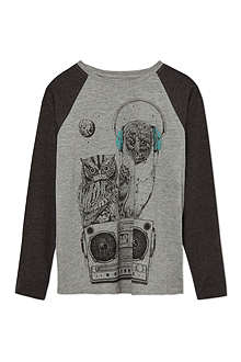 SOFT GALLERY Owl-print long-sleeved top 2-14 years