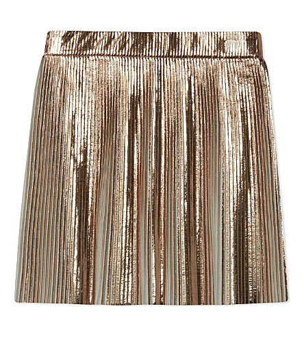 LITTLE REMIX Tilt metallic pleated skirt 6-14 years (Rose+gold