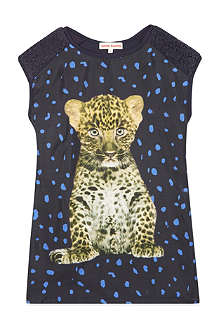 ANNE KURRIS Leopard print fur shoulder dress 2-12 years