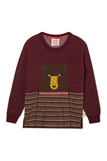 TOOTSA MACGINTY Fairisle knitted bear jumper 2-8 years