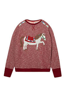 TOOTSA MACGINTY Marled horse print sweatshirt 2-8 years