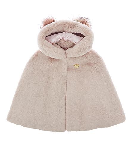 BANDITS GIRL Pom pom faux fur cape xs-l (Baby+pink