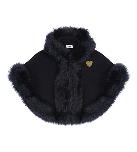 BANDITS GIRL Faux fur cape XS-XL (Navy