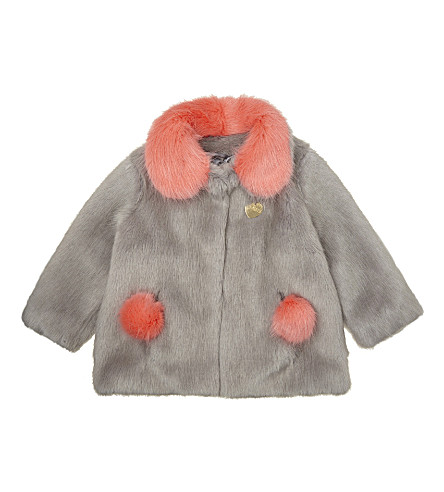 BANDITS GIRL Pom pom faux-fur coat 4-11 years (Grey+mix