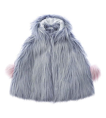 BANDITS GIRL Fluffy faux-fur cape xs-l (Light+blue