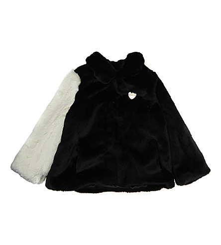 BANDITS GIRL Faux-fur panda coat 4-11 years (Black