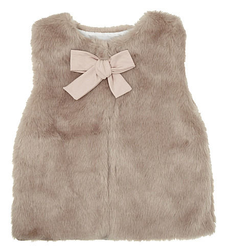 PATACHOU Bow detail faux-fir gilet 4-14 years (Dusty+pink