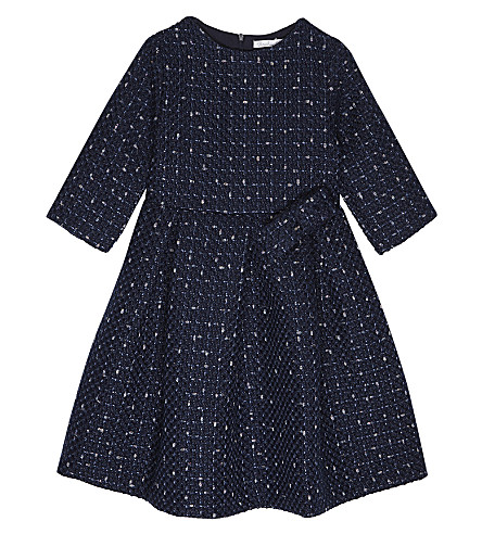 PATACHOU Pleated tweed dress 4-14 years (Navy