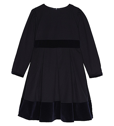 PATACHOU Velvet trim fit-and-flare dress 4-14 years (Marine
