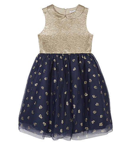 PATACHOU Heart motif metallic bow detail dress 4-14 years (Gold/navy