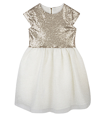 PATACHOU Short-sleeved sequinned dress 4-14 years (Gold