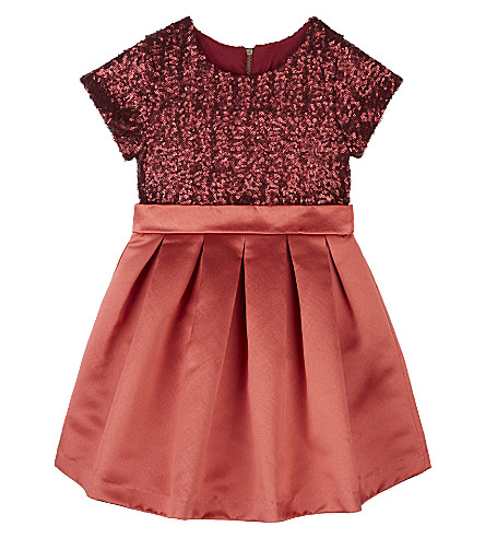 PATACHOU Short-sleeved sequinned bow detail dress 4-14 years (Red
