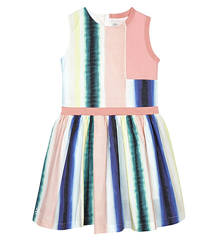 NO ADDED SUGAR Paint stripe cotton dress 4-12 years (Art+class+blue