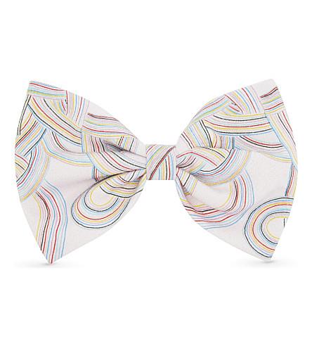 NO ADDED SUGAR Rainbow stripe bow clip (Doodle+stripes