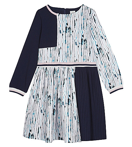 NO ADDED SUGAR Watercolour-striped fit and flare dress 4-12 years (Running+stripes